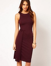 Halston Heritage Open Pleated Dress with Side Drape
