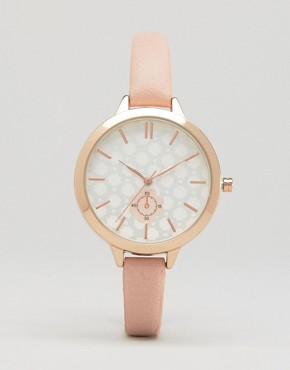 New Look Floral Dial Faux Leather Watch