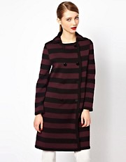 M Missoni Structured Knitted Coat in Oversized Stripes