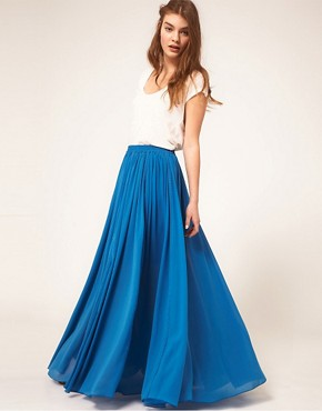 Image 1 ofAUS ASOS Maxi Skirt with Broderie Inserts