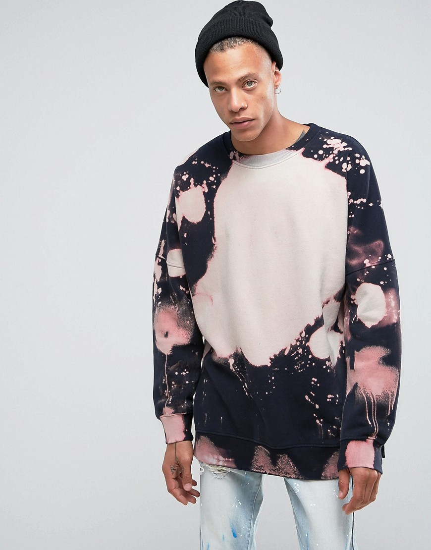 Mennace Dropped Shoulder Sweatshirt With Bleached Out Print - Black