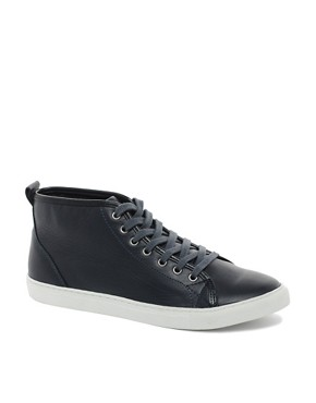 Image 1 ofASOS Mid Top Leather Trainers