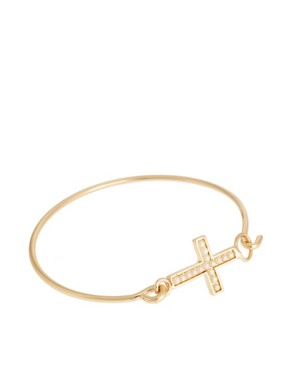 Image 1 ofASOS Cross Pearl Torque Bangle