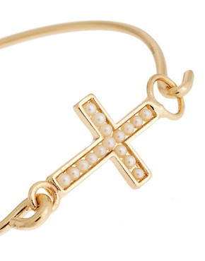 Image 4 ofASOS Cross Pearl Torque Bangle