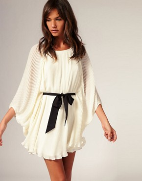 Image 1 ofRiver Island Blouson Pleat Dress With Belt