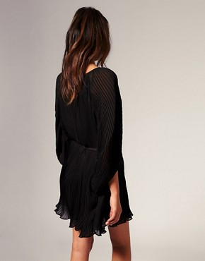 Image 2 ofRiver Island Blouson Pleat Dress With Belt