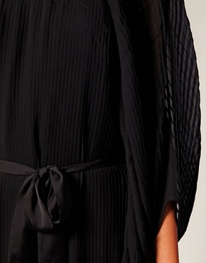 Image 3 ofRiver Island Blouson Pleat Dress With Belt