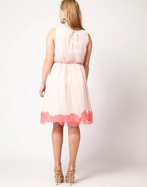 Image 2 ofASOS CURVE Premium Dress with Contrast Cutwork Hem
