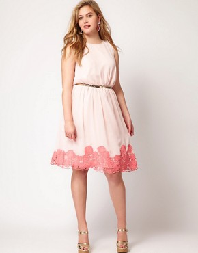Image 4 ofASOS CURVE Premium Dress with Contrast Cutwork Hem