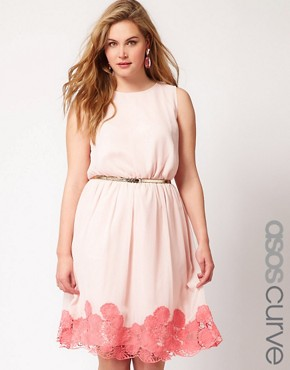 Image 1 ofASOS CURVE Premium Dress with Contrast Cutwork Hem