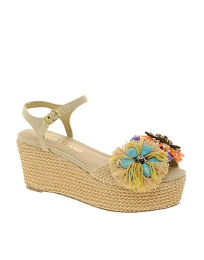 Image 1 ofRiver Island Raffia Flatform Sandals