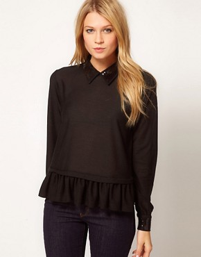 Image 1 ofASOS Top with Peplum With Embellished Collar