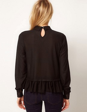 Image 2 ofASOS Top with Peplum With Embellished Collar