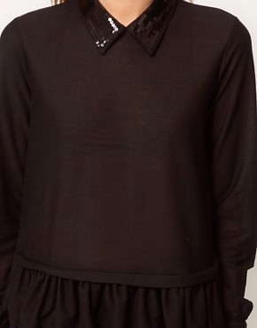 Image 3 ofASOS Top with Peplum With Embellished Collar
