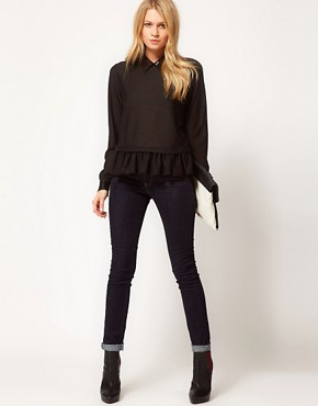 Image 4 ofASOS Top with Peplum With Embellished Collar