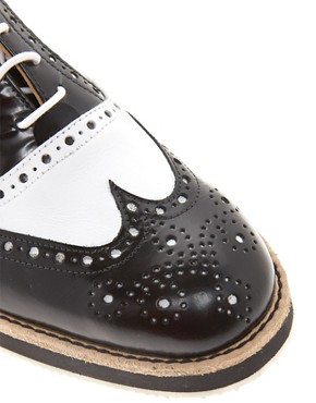 Image 2 ofT &amp; F Slack Shoemakers Flat Lace Up Brogue Shoes