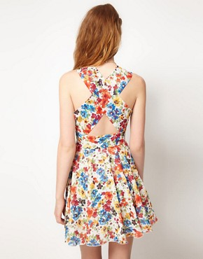 Image 2 ofLove Chiffon Watercolour Floral Cut Out Dress