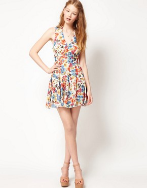 Image 4 ofLove Chiffon Watercolour Floral Cut Out Dress