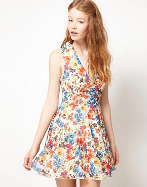 Image 1 ofLove Chiffon Watercolour Floral Cut Out Dress