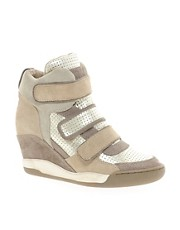 Ash Alex Bis Taupe/Gold Wedge Trainers