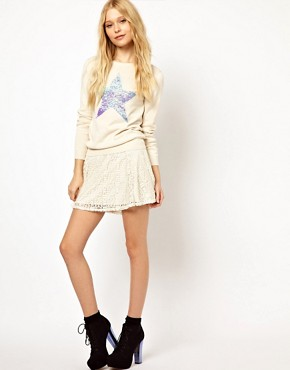 Image 1 ofRiver Island Skater Skirt In Lace