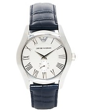 Emporio Armani Blue Leather Strap Watch AR1666