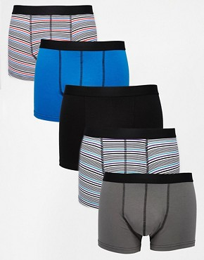 ASOS 5 Pack Trunks With Multi Stripe