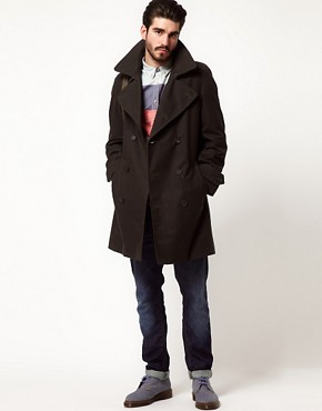 Image 4 of Gloverall Peacoat in Dry Waxed Cotton