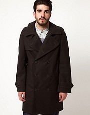 Gloverall Peacoat in Dry Waxed Cotton