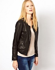 Selected Collarless Leather Bomber Jacket