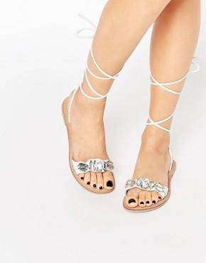 ASOS FOCUS Leather Jewel Tie Leg Sandals