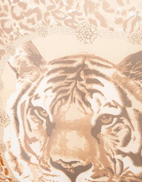 Image 2 of River Island Large Tiger Face Square Scarf