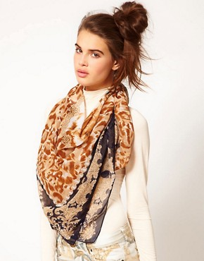 Image 1 of River Island Large Tiger Face Square Scarf