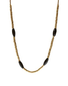 Image 1 ofFrench Connection Golden Snake Chain and Bead Rope Necklace