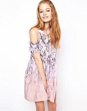 HOUSE OF HACKNEY Exposed Shoulder Smock Dress in Pink Dalston Candy