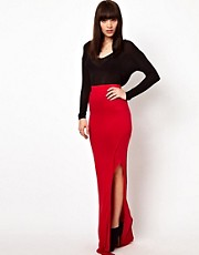 Improvd Jersey Maxi Skirt with Split
