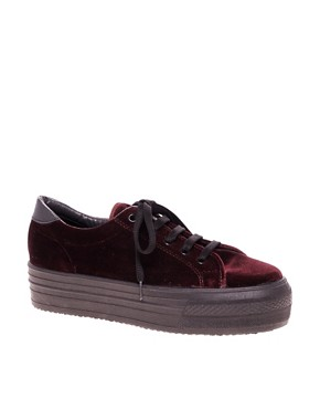 Image 1 ofASOS DINO Velvet Flatform Trainers