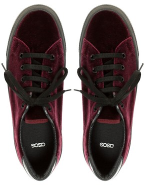 Image 3 ofASOS DINO Velvet Flatform Trainers