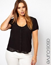 ASOS CURVE Blouse With Peter Pan Collar And Balloon Sleeve
