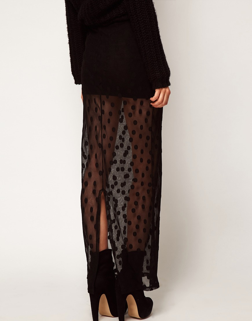 Image 2 of ASOS Maxi Skirt in Spot Mesh