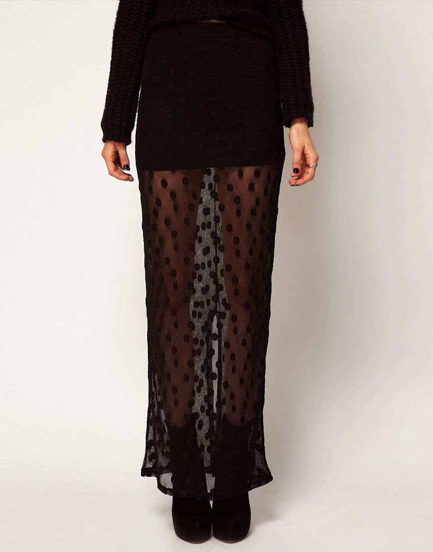 Image 4 of ASOS Maxi Skirt in Spot Mesh
