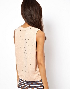Image 2 ofASOS Sleeveless Sweatshirt with Heatseal Studs