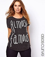 ASOS CURVE Exclusive T-Shirt With Beaded Almost Famous