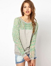 Vanessa Bruno Ath Sweatshirt with Knitted Panel and Sleeves