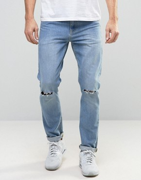 ASOS Skinny Jeans With Knee Rips