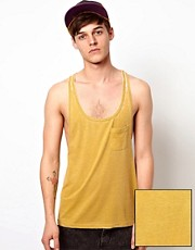 ASOS Tank With Extreme Racer Back And Burn Wash