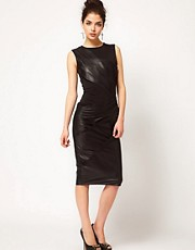 ASOS Pencil Dress with Leather &amp; Jersey