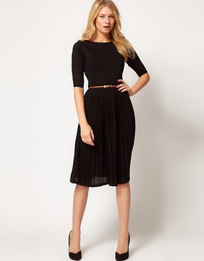 Image 1 ofASOS Midi Dress With Pleated Skirt