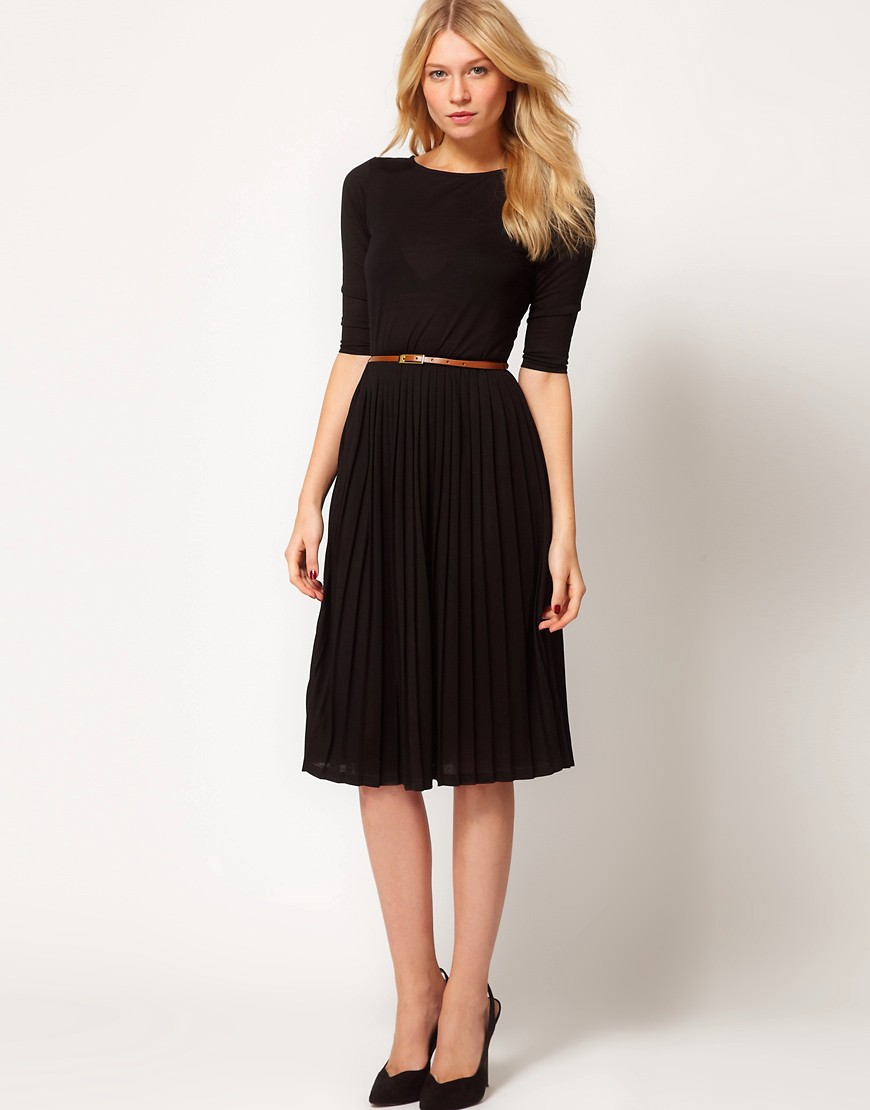 Image 4 of ASOS Midi Dress With Pleated Skirt