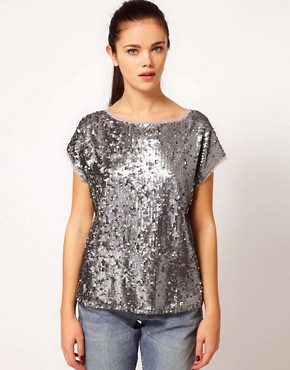 Image 1 ofRiver Island Sequin T-Shirt